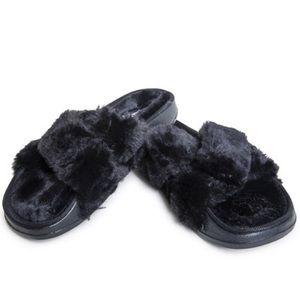 Shoes - Black Faux Fur Slides